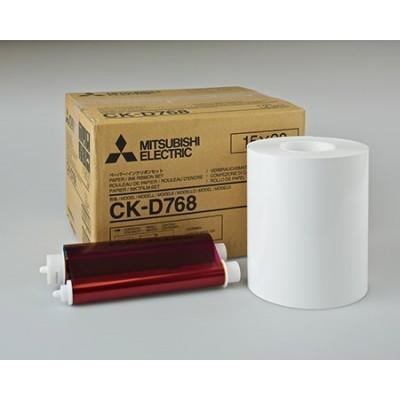 CK-D768 15х20 комплект для фотопечати  для фотопринтеров Mitsubishi CP-D70DW, CP-D707DW 2-MODUL (2х200 кадров, два рулона фотобумаги и два картриджа с красящей пленкой)